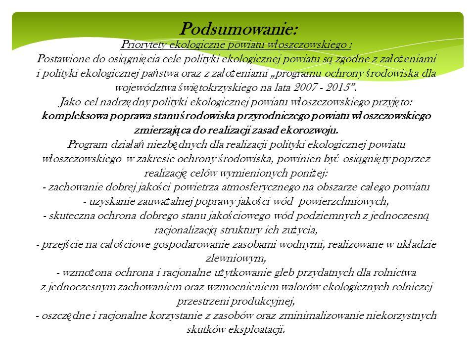 Priorytety ekologiczne powiatu w ł oszczowskiego : Postawione do osi ą gni ę cia cele polityki ekologicznej powiatu s ą zgodne z za ł o ż eniami i pol