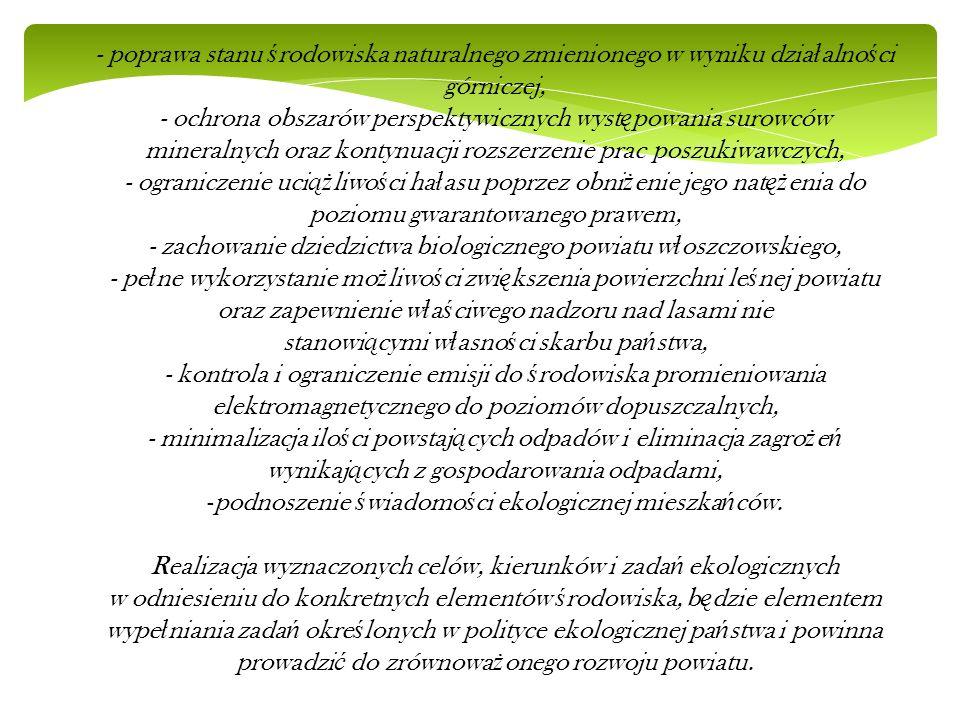 - poprawa stanu ś rodowiska naturalnego zmienionego w wyniku dzia ł alno ś ci górniczej, - ochrona obszarów perspektywicznych wyst ę powania surowców