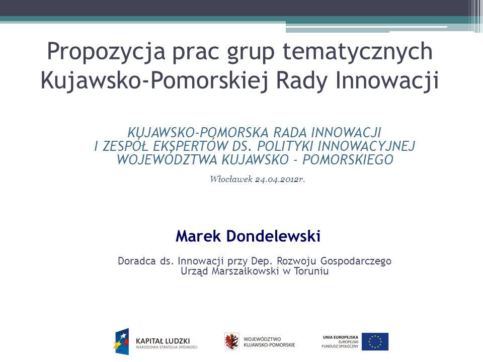 Propozycja prac grup tematycznych Kujawsko-Pomorskiej Rady Innowacji KUJAWSKO-POMORSKA RADA INNOWACJI I ZESPÓŁ EKSPERTÓW DS. POLITYKI INNOWACYJNEJ WOJ