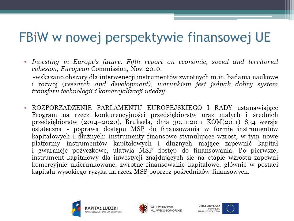 FBiW w nowej perspektywie finansowej UE Investing in Europes future.