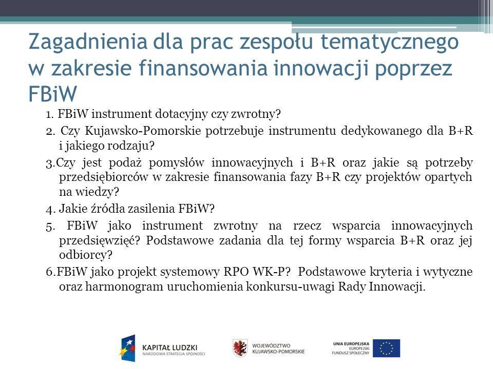 Zagadnienia dla prac zespołu tematycznego w zakresie finansowania innowacji poprzez FBiW 1.