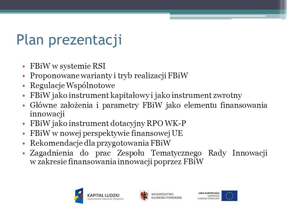 Plan prezentacji FBiW w systemie RSI Proponowane warianty i tryb realizacji FBiW Regulacje Wspólnotowe FBiW jako instrument kapitałowy i jako instrument zwrotny Główne założenia i parametry FBiW jako elementu finansowania innowacji FBiW jako instrument dotacyjny RPO WK-P FBiW w nowej perspektywie finansowej UE Rekomendacje dla przygotowania FBiW Zagadnienia do prac Zespołu Tematycznego Rady Innowacji w zakresie finansowania innowacji poprzez FBiW
