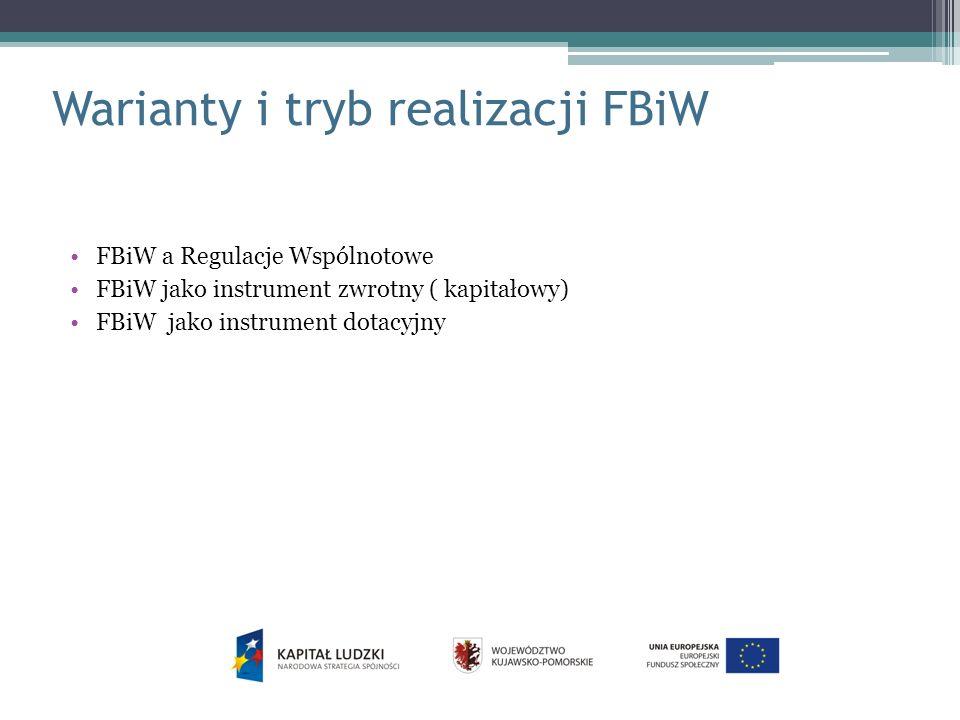Warianty i tryb realizacji FBiW FBiW a Regulacje Wspólnotowe FBiW jako instrument zwrotny ( kapitałowy) FBiW jako instrument dotacyjny