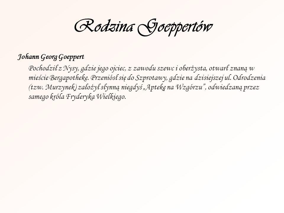 Rodzina Goeppertów Johann Georg Goeppert Pochodził z Nysy, gdzie jego ojciec, z zawodu szewc i oberżysta, otwarł znaną w mieście Bergapotheke. Przenió