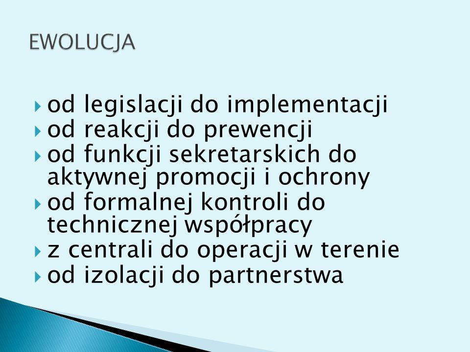 od legislacji do implementacji od reakcji do prewencji od funkcji sekretarskich do aktywnej promocji i ochrony od formalnej kontroli do technicznej współpracy z centrali do operacji w terenie od izolacji do partnerstwa