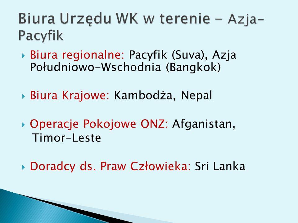 Biura regionalne: Pacyfik (Suva), Azja Południowo-Wschodnia (Bangkok) Biura Krajowe: Kambodża, Nepal Operacje Pokojowe ONZ: Afganistan, Timor-Leste Doradcy ds.