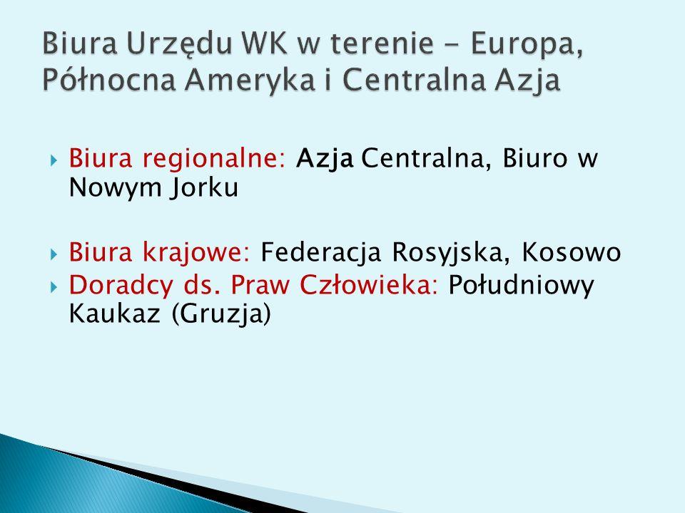 Biura regionalne: Azja Centralna, Biuro w Nowym Jorku Biura krajowe: Federacja Rosyjska, Kosowo Doradcy ds. Praw Człowieka: Południowy Kaukaz (Gruzja)
