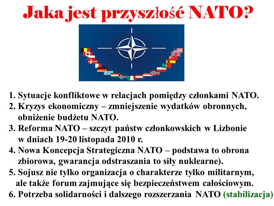 Jaka jest przysz ł o ś ć NATO? 1. Sytuacje konfliktowe w relacjach pomiędzy członkami NATO. 2. Kryzys ekonomiczny – zmniejszenie wydatków obronnych, o