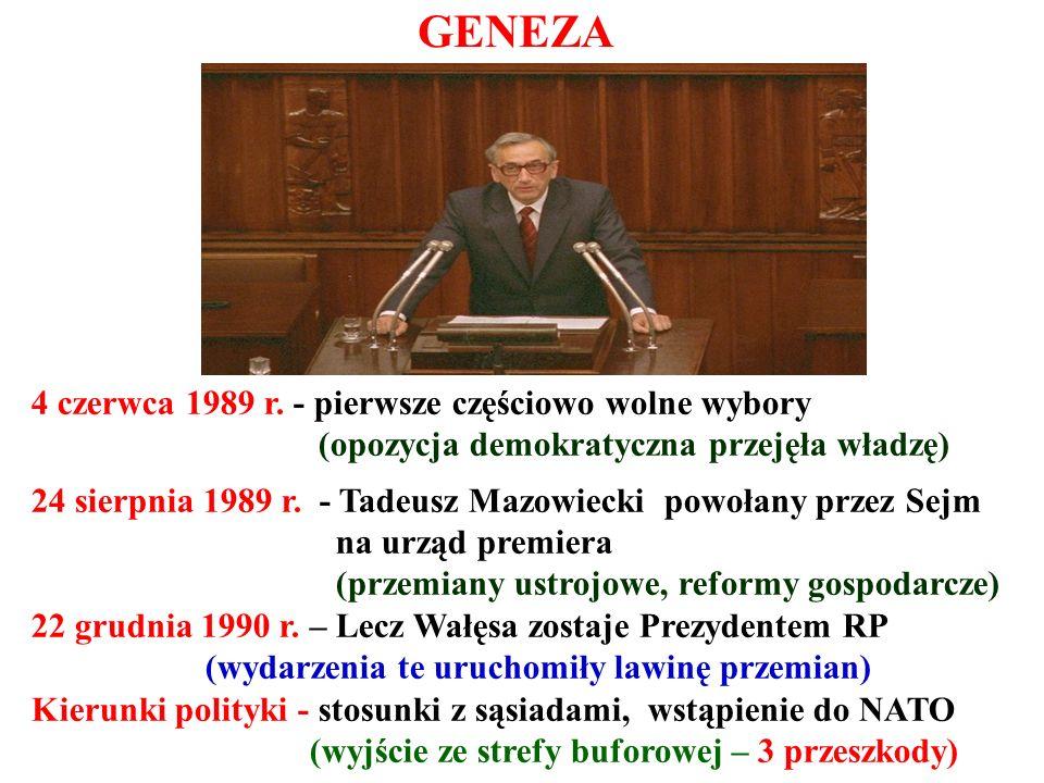 4 czerwca 1989 r. - pierwsze częściowo wolne wybory (opozycja demokratyczna przejęła władzę) 24 sierpnia 1989 r. - Tadeusz Mazowiecki powołany przez S
