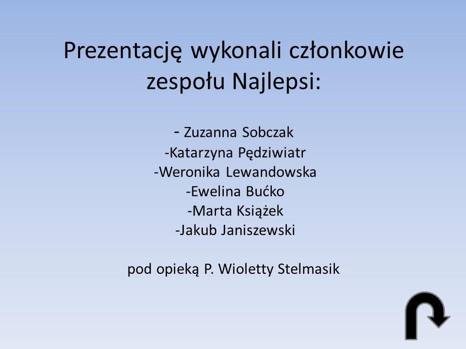 Prezentację wykonali członkowie zespołu Najlepsi: - Zuzanna Sobczak -Katarzyna Pędziwiatr -Weronika Lewandowska -Ewelina Bućko -Marta Książek -Jakub Janiszewski pod opieką P.