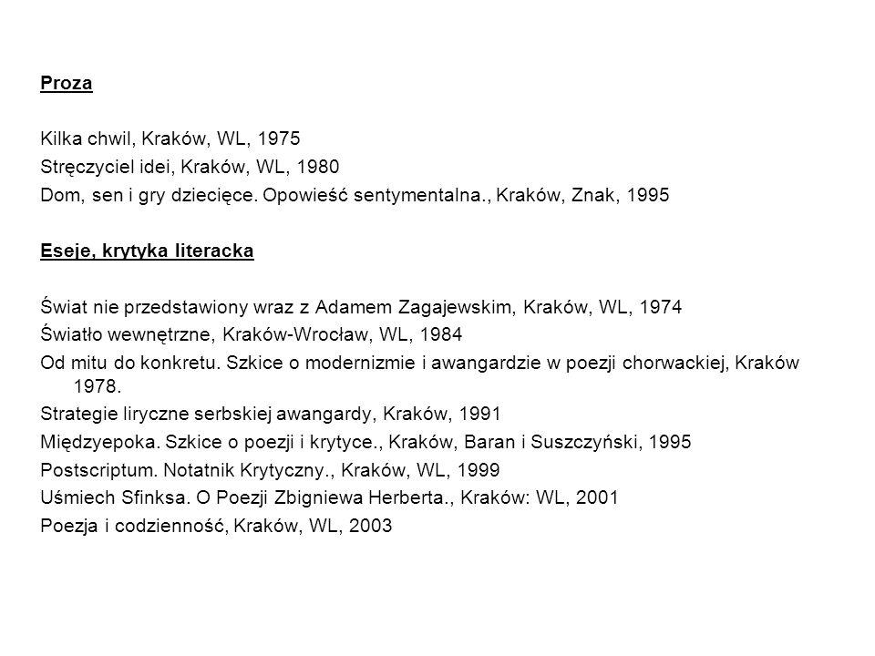 Proza Kilka chwil, Kraków, WL, 1975 Stręczyciel idei, Kraków, WL, 1980 Dom, sen i gry dziecięce.