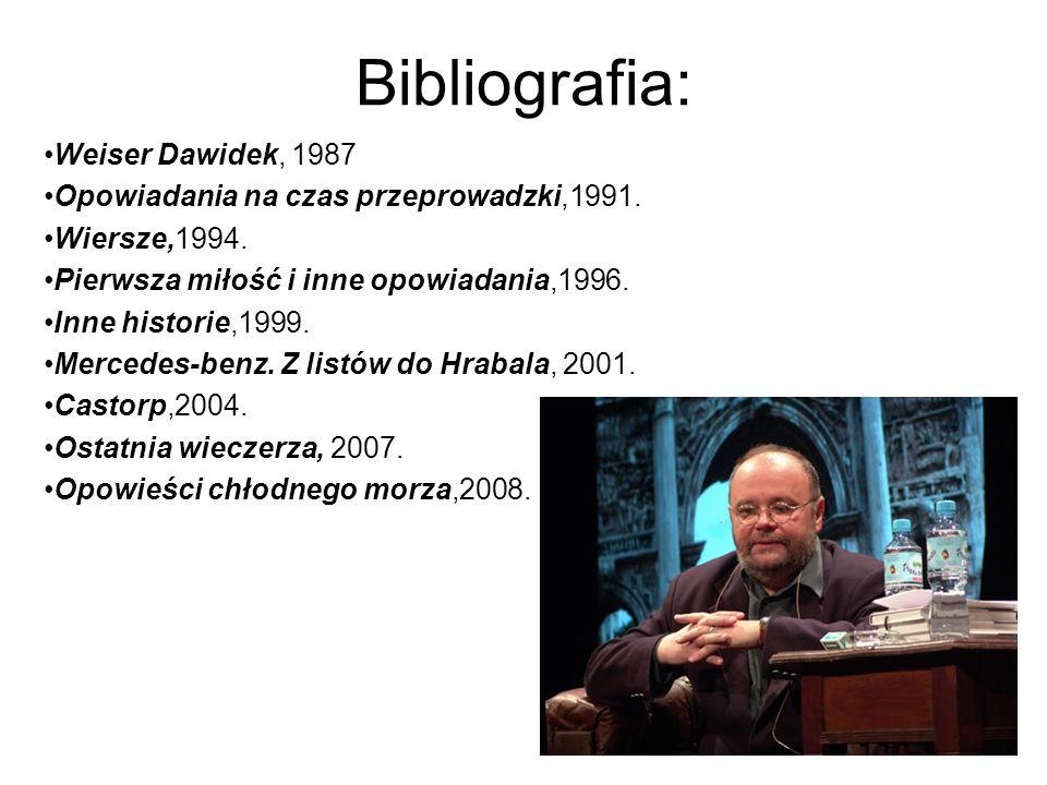 Bibliografia: Weiser Dawidek, 1987 Opowiadania na czas przeprowadzki,1991.