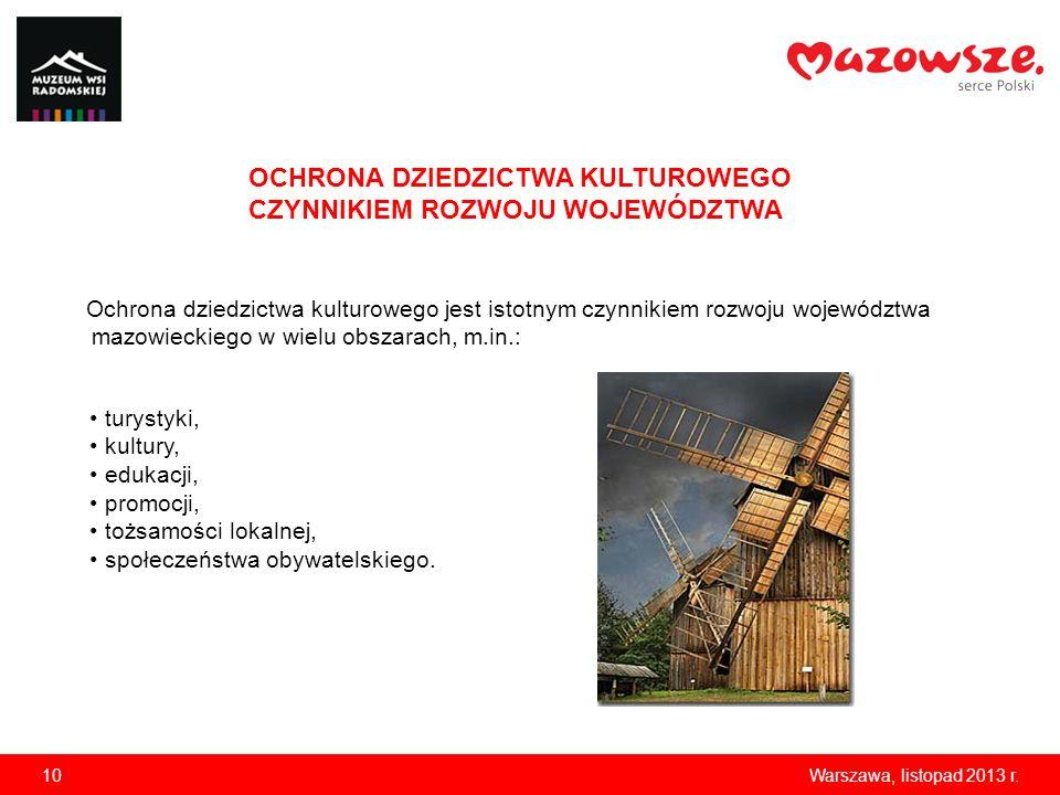 10Warszawa, listopad 2013 r. Ochrona dziedzictwa kulturowego jest istotnym czynnikiem rozwoju województwa mazowieckiego w wielu obszarach, m.in.: OCHR