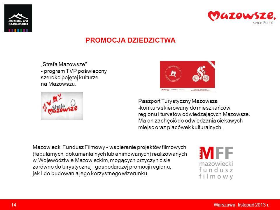 14Warszawa, listopad 2013 r. PROMOCJA DZIEDZICTWA Strefa Mazowsze - program TVP poświęcony szeroko pojętej kulturze na Mazowszu. Mazowiecki Fundusz Fi