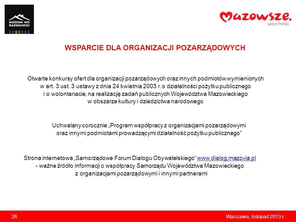 26Warszawa, listopad 2013 r. WSPARCIE DLA ORGANIZACJI POZARZĄDOWYCH Otwarte konkursy ofert dla organizacji pozarządowych oraz innych podmiotów wymieni