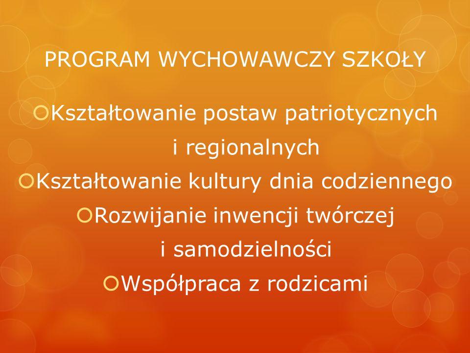 PROGRAM WYCHOWAWCZY SZKOŁY Kształtowanie postaw patriotycznych i regionalnych Kształtowanie kultury dnia codziennego Rozwijanie inwencji twórczej i sa