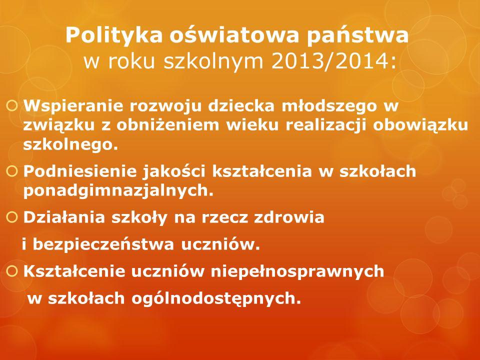 Polityka oświatowa państwa w roku szkolnym 2013/2014: Wspieranie rozwoju dziecka młodszego w związku z obniżeniem wieku realizacji obowiązku szkolnego