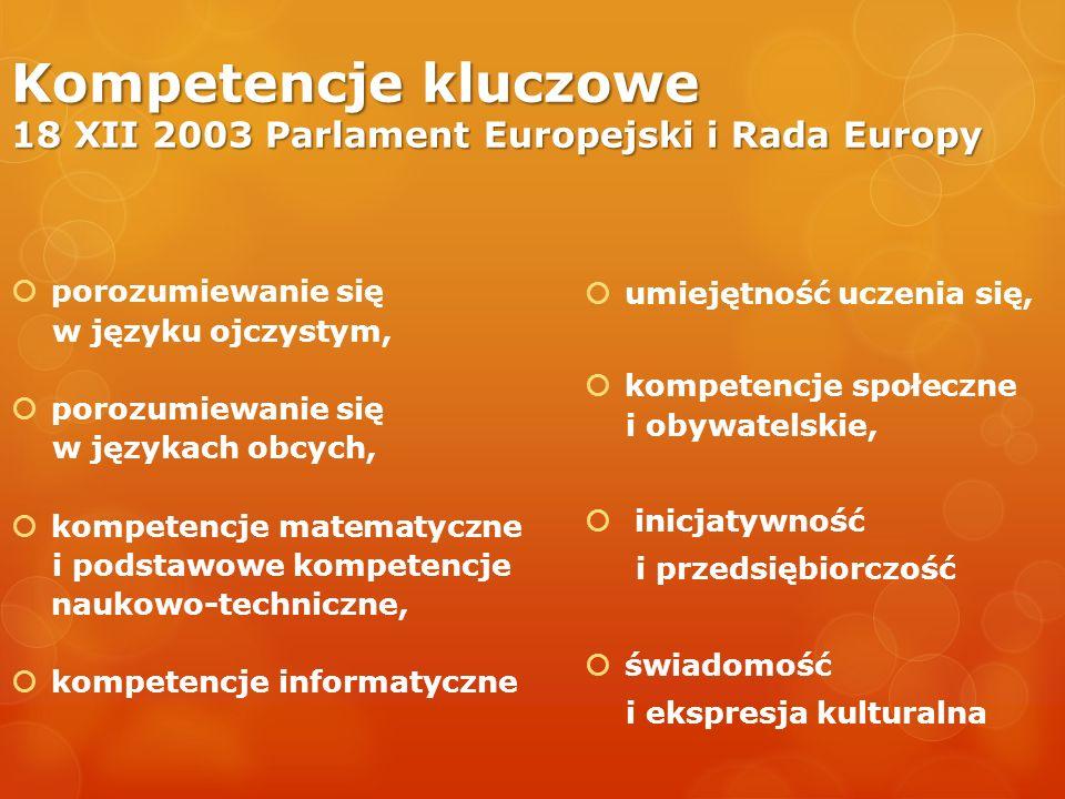 Kompetencje kluczowe 18 XII 2003 Parlament Europejski i Rada Europy porozumiewanie się w języku ojczystym, porozumiewanie się w językach obcych, kompe