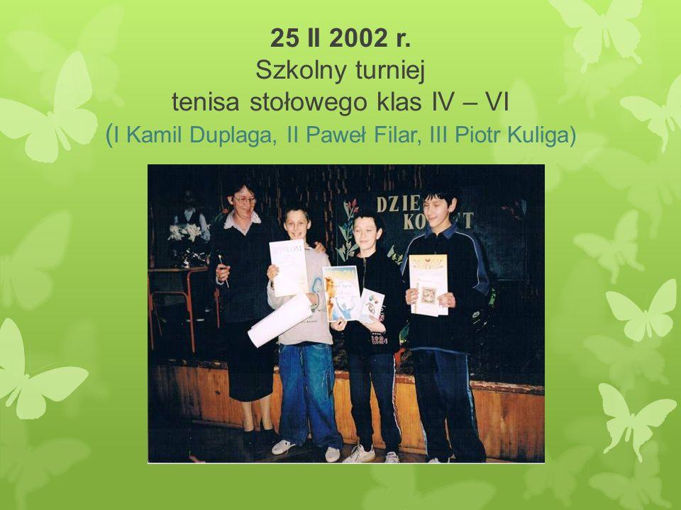 25 II 2002 r. Szkolny turniej tenisa stołowego klas IV – VI ( I Kamil Duplaga, II Paweł Filar, III Piotr Kuliga)