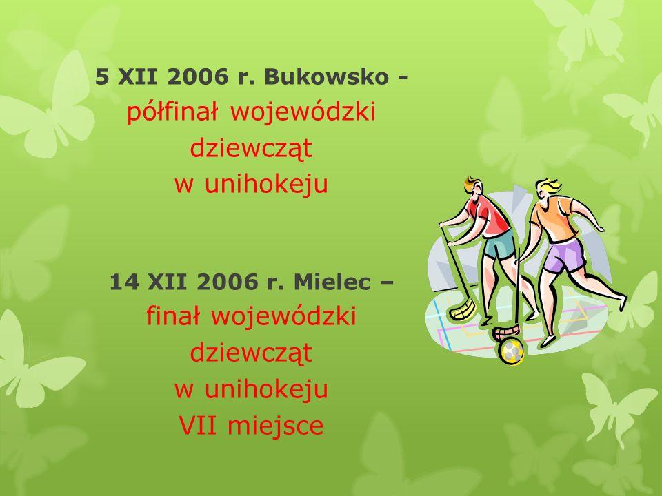 5 XII 2006 r. Bukowsko - półfinał wojewódzki dziewcząt w unihokeju 14 XII 2006 r. Mielec – finał wojewódzki dziewcząt w unihokeju VII miejsce