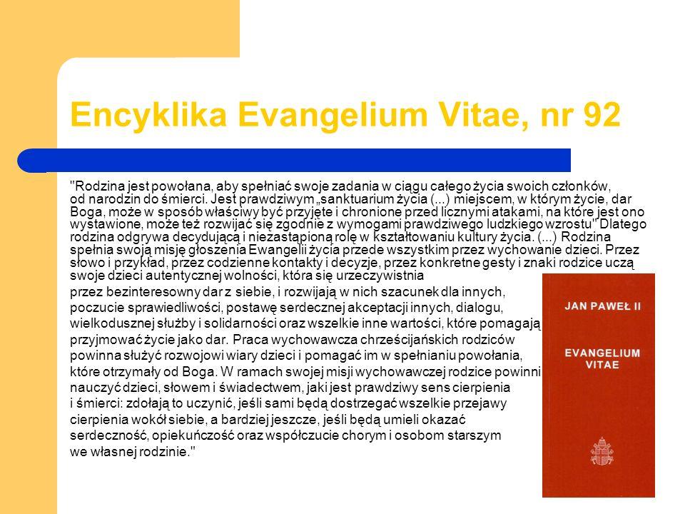 Encyklika Evangelium Vitae, nr 92 Rodzina jest powołana, aby spełniać swoje zadania w ciągu całego życia swoich członków, od narodzin do śmierci.