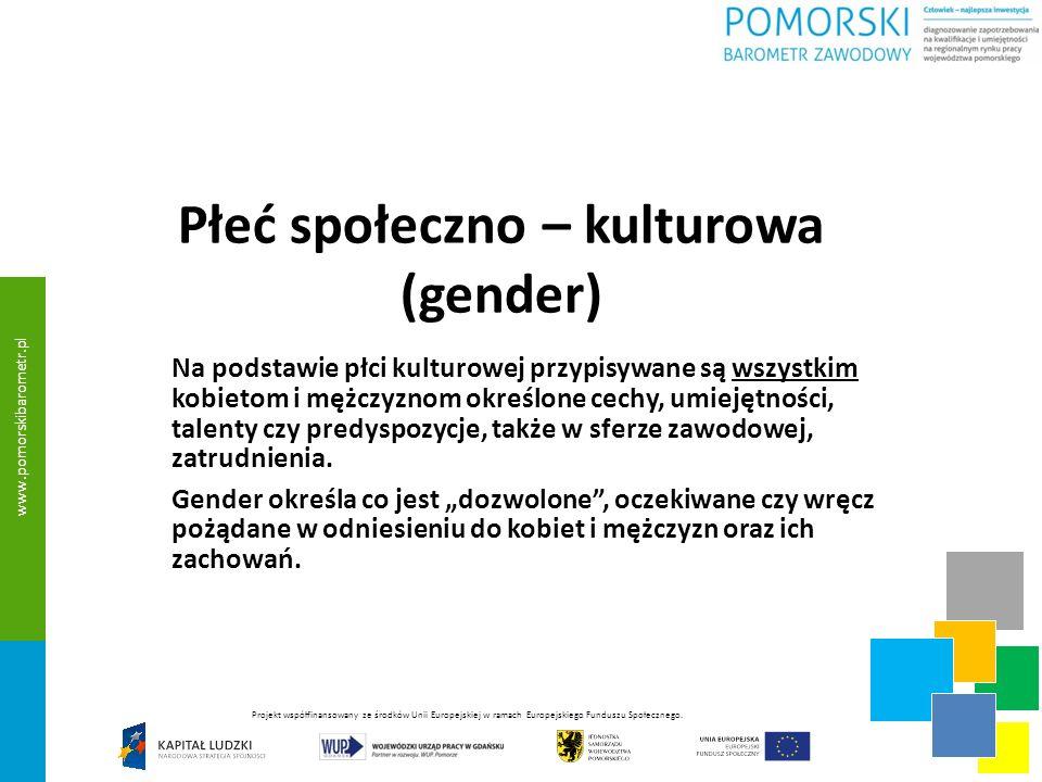 Płeć społeczno – kulturowa (gender) Na podstawie płci kulturowej przypisywane są wszystkim kobietom i mężczyznom określone cechy, umiejętności, talenty czy predyspozycje, także w sferze zawodowej, zatrudnienia.