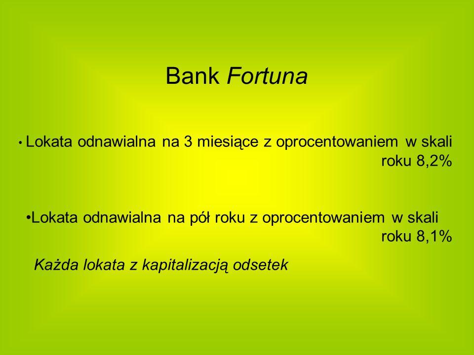 Bank Fortuna Lokata odnawialna na 3 miesiące z oprocentowaniem w skali roku 8,2% Lokata odnawialna na pół roku z oprocentowaniem w skali roku 8,1% Każ