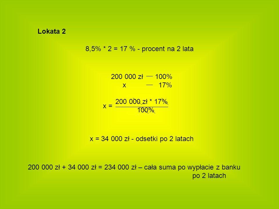 Lokata 2 200 000 zł 100% x 17% 200 000 zł * 17% 100% x = 8,5% * 2 = 17 % - procent na 2 lata x = 34 000 zł - odsetki po 2 latach 200 000 zł + 34 000 z