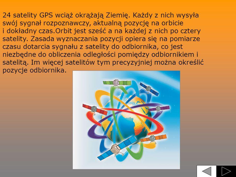 24 satelity GPS wciąż okrążają Ziemię. Każdy z nich wysyła swój sygnał rozpoznawczy, aktualną pozycję na orbicie i dokładny czas.Orbit jest sześć a na
