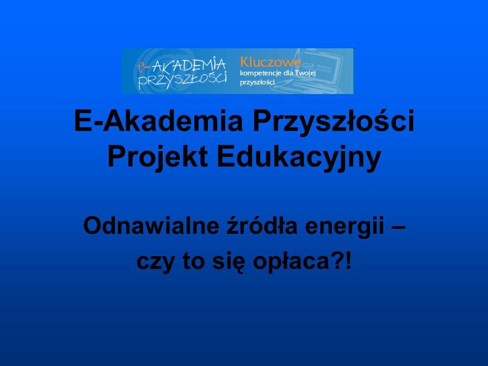 E-Akademia Przyszłości Projekt Edukacyjny Odnawialne źródła energii – czy to się opłaca?!