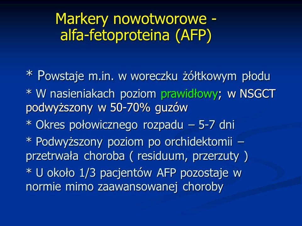 Markery nowotworowe - alfa-fetoproteina (AFP) * P owstaje m.in.