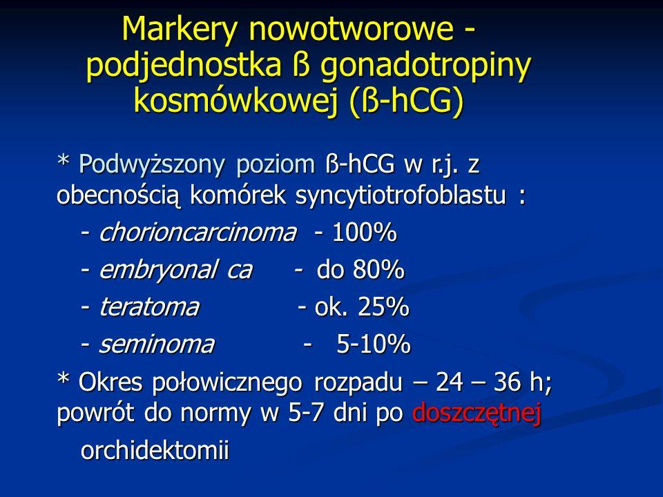 Markery nowotworowe - podjednostka ß gonadotropiny kosmówkowej (ß-hCG) * Podwyższony poziom ß-hCG w r.j.