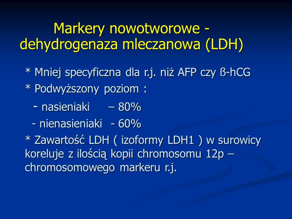 Markery nowotworowe - dehydrogenaza mleczanowa (LDH) * Mniej specyficzna dla r.j.