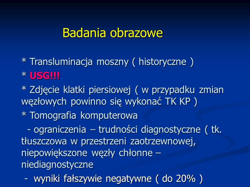 Badania obrazowe * Transluminacja moszny ( historyczne ) * USG!!.