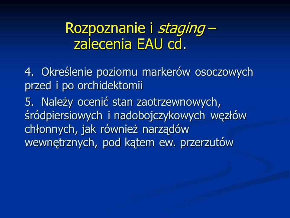 Rozpoznanie i staging – zalecenia EAU cd.Rozpoznanie i staging – zalecenia EAU cd.