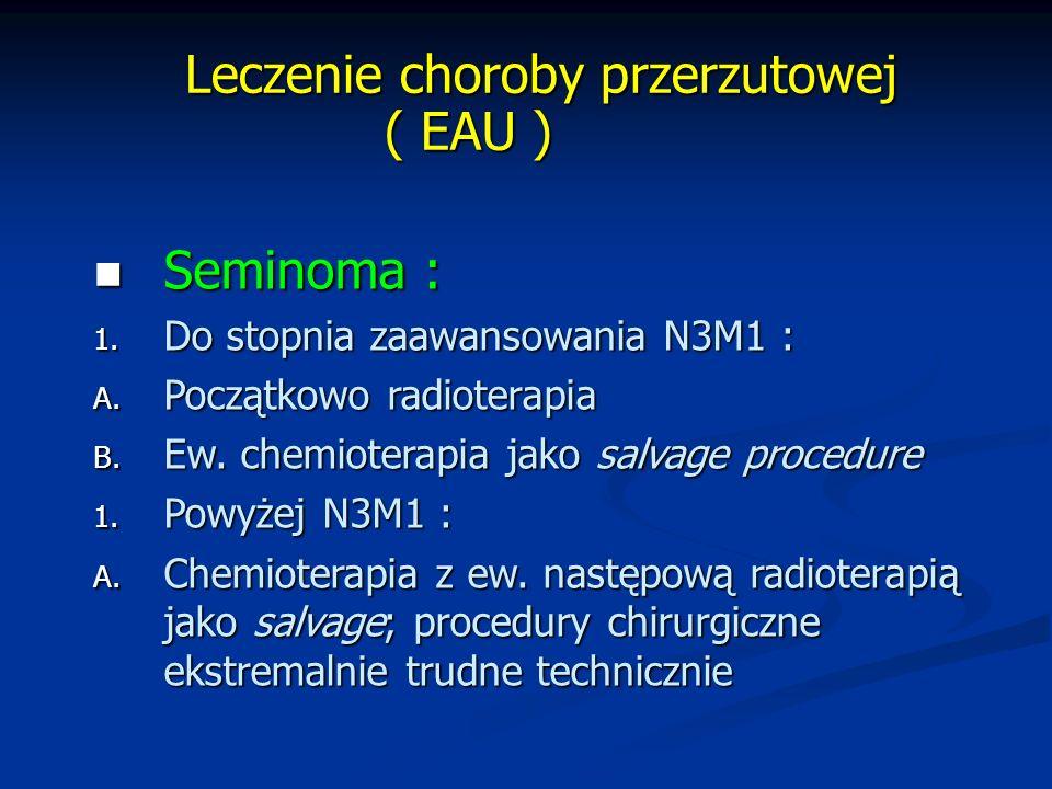 Leczenie choroby przerzutowej ( EAU ) Leczenie choroby przerzutowej ( EAU ) Seminoma : Seminoma : 1.