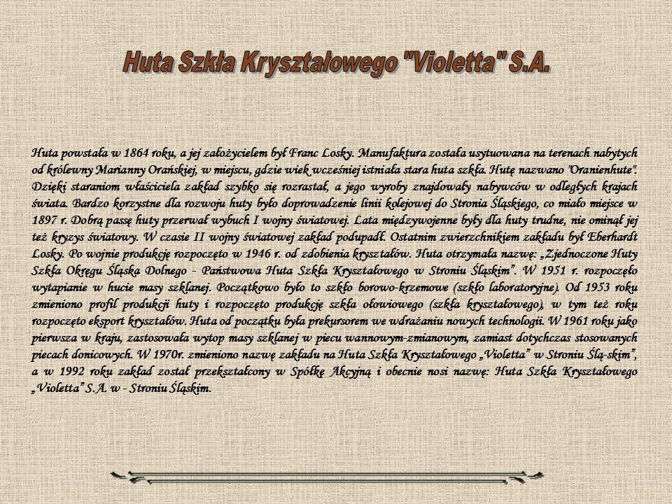 Huta powstała w 1864 roku, a jej założycielem był Franc Losky. Manufaktura została usytuowana na terenach nabytych od królewny Marianny Orańskiej, w m