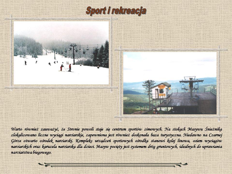 Warto również zauważyć, że Stronie powoli staje się centrum sportów zimowych. Na stokach Masywu Śnieżnika zlokalizowano liczne wyciągi narciarskie, za