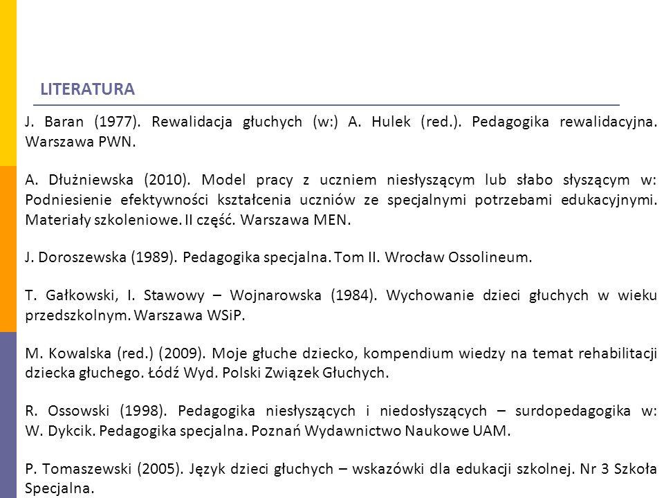 LITERATURA J.Baran (1977). Rewalidacja głuchych (w:) A.