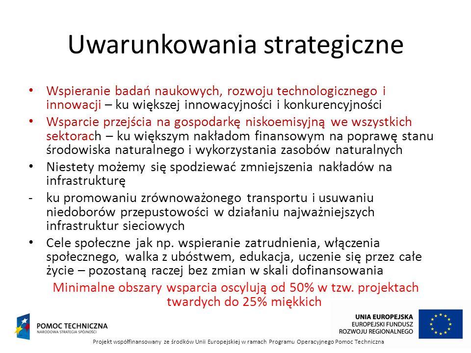 Uwarunkowania strategiczne Wspieranie badań naukowych, rozwoju technologicznego i innowacji – ku większej innowacyjności i konkurencyjności Wsparcie przejścia na gospodarkę niskoemisyjną we wszystkich sektorach – ku większym nakładom finansowym na poprawę stanu środowiska naturalnego i wykorzystania zasobów naturalnych Niestety możemy się spodziewać zmniejszenia nakładów na infrastrukturę -ku promowaniu zrównoważonego transportu i usuwaniu niedoborów przepustowości w działaniu najważniejszych infrastruktur sieciowych Cele społeczne jak np.