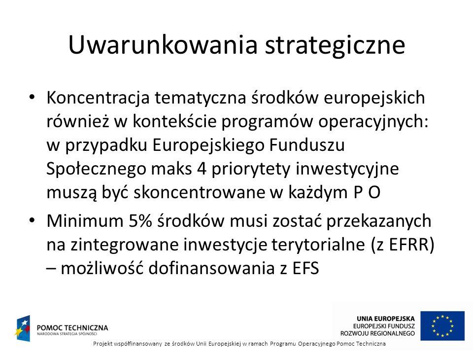 Uwarunkowania strategiczne Koncentracja tematyczna środków europejskich również w kontekście programów operacyjnych: w przypadku Europejskiego Funduszu Społecznego maks 4 priorytety inwestycyjne muszą być skoncentrowane w każdym P O Minimum 5% środków musi zostać przekazanych na zintegrowane inwestycje terytorialne (z EFRR) – możliwość dofinansowania z EFS Projekt współfinansowany ze środków Unii Europejskiej w ramach Programu Operacyjnego Pomoc Techniczna