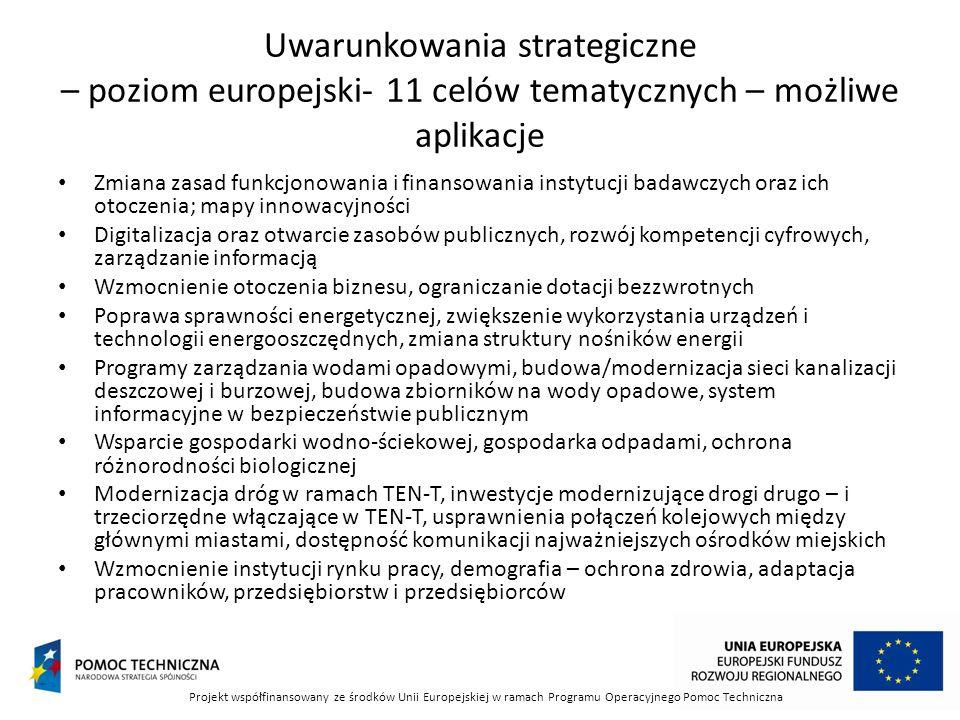 Uwarunkowania strategiczne – poziom europejski- 11 celów tematycznych – możliwe aplikacje Zmiana zasad funkcjonowania i finansowania instytucji badawczych oraz ich otoczenia; mapy innowacyjności Digitalizacja oraz otwarcie zasobów publicznych, rozwój kompetencji cyfrowych, zarządzanie informacją Wzmocnienie otoczenia biznesu, ograniczanie dotacji bezzwrotnych Poprawa sprawności energetycznej, zwiększenie wykorzystania urządzeń i technologii energooszczędnych, zmiana struktury nośników energii Programy zarządzania wodami opadowymi, budowa/modernizacja sieci kanalizacji deszczowej i burzowej, budowa zbiorników na wody opadowe, system informacyjne w bezpieczeństwie publicznym Wsparcie gospodarki wodno-ściekowej, gospodarka odpadami, ochrona różnorodności biologicznej Modernizacja dróg w ramach TEN-T, inwestycje modernizujące drogi drugo – i trzeciorzędne włączające w TEN-T, usprawnienia połączeń kolejowych między głównymi miastami, dostępność komunikacji najważniejszych ośrodków miejskich Wzmocnienie instytucji rynku pracy, demografia – ochrona zdrowia, adaptacja pracowników, przedsiębiorstw i przedsiębiorców Projekt współfinansowany ze środków Unii Europejskiej w ramach Programu Operacyjnego Pomoc Techniczna