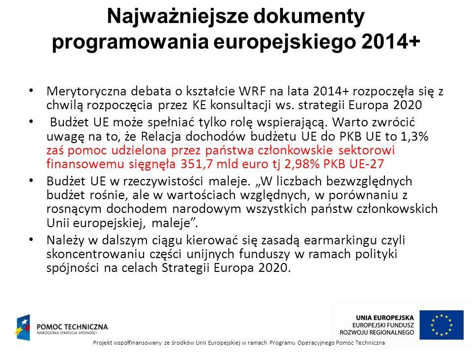 Najważniejsze dokumenty programowania europejskiego 2014+ Merytoryczna debata o kształcie WRF na lata 2014+ rozpoczęła się z chwilą rozpoczęcia przez KE konsultacji ws.