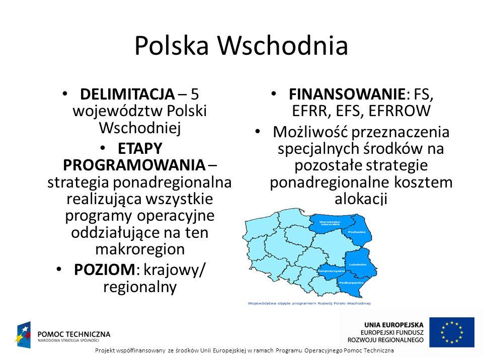 Polska Wschodnia DELIMITACJA – 5 województw Polski Wschodniej ETAPY PROGRAMOWANIA – strategia ponadregionalna realizująca wszystkie programy operacyjne oddziałujące na ten makroregion POZIOM: krajowy/ regionalny FINANSOWANIE: FS, EFRR, EFS, EFRROW Możliwość przeznaczenia specjalnych środków na pozostałe strategie ponadregionalne kosztem alokacji Projekt współfinansowany ze środków Unii Europejskiej w ramach Programu Operacyjnego Pomoc Techniczna