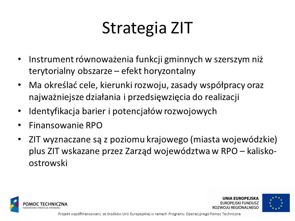 Strategia ZIT Instrument równoważenia funkcji gminnych w szerszym niż terytorialny obszarze – efekt horyzontalny Ma określać cele, kierunki rozwoju, zasady współpracy oraz najważniejsze działania i przedsięwzięcia do realizacji Identyfikacja barier i potencjałów rozwojowych Finansowanie RPO ZIT wyznaczane są z poziomu krajowego (miasta wojewódzkie) plus ZIT wskazane przez Zarząd województwa w RPO – kalisko- ostrowski Projekt współfinansowany ze środków Unii Europejskiej w ramach Programu Operacyjnego Pomoc Techniczna