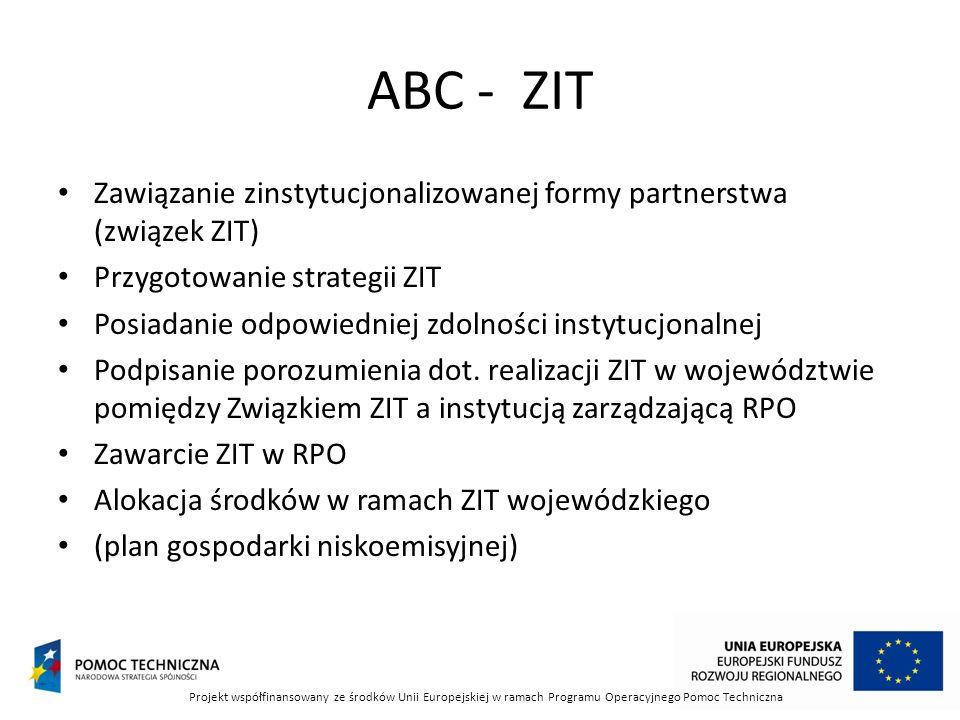 ABC - ZIT Zawiązanie zinstytucjonalizowanej formy partnerstwa (związek ZIT) Przygotowanie strategii ZIT Posiadanie odpowiedniej zdolności instytucjonalnej Podpisanie porozumienia dot.