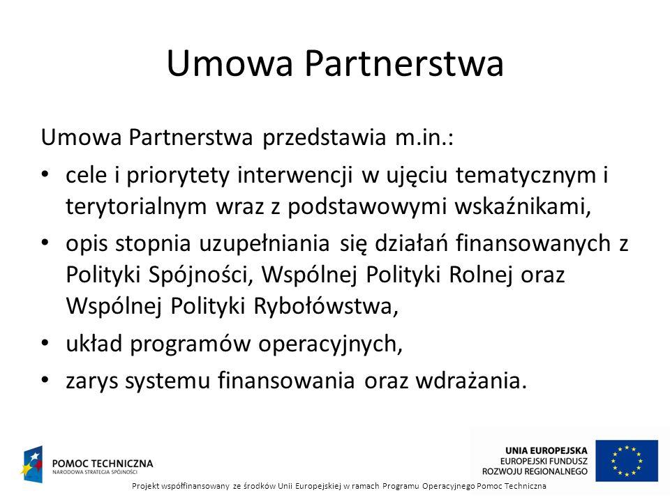 Umowa Partnerstwa Umowa Partnerstwa przedstawia m.in.: cele i priorytety interwencji w ujęciu tematycznym i terytorialnym wraz z podstawowymi wskaźnikami, opis stopnia uzupełniania się działań finansowanych z Polityki Spójności, Wspólnej Polityki Rolnej oraz Wspólnej Polityki Rybołówstwa, układ programów operacyjnych, zarys systemu finansowania oraz wdrażania.