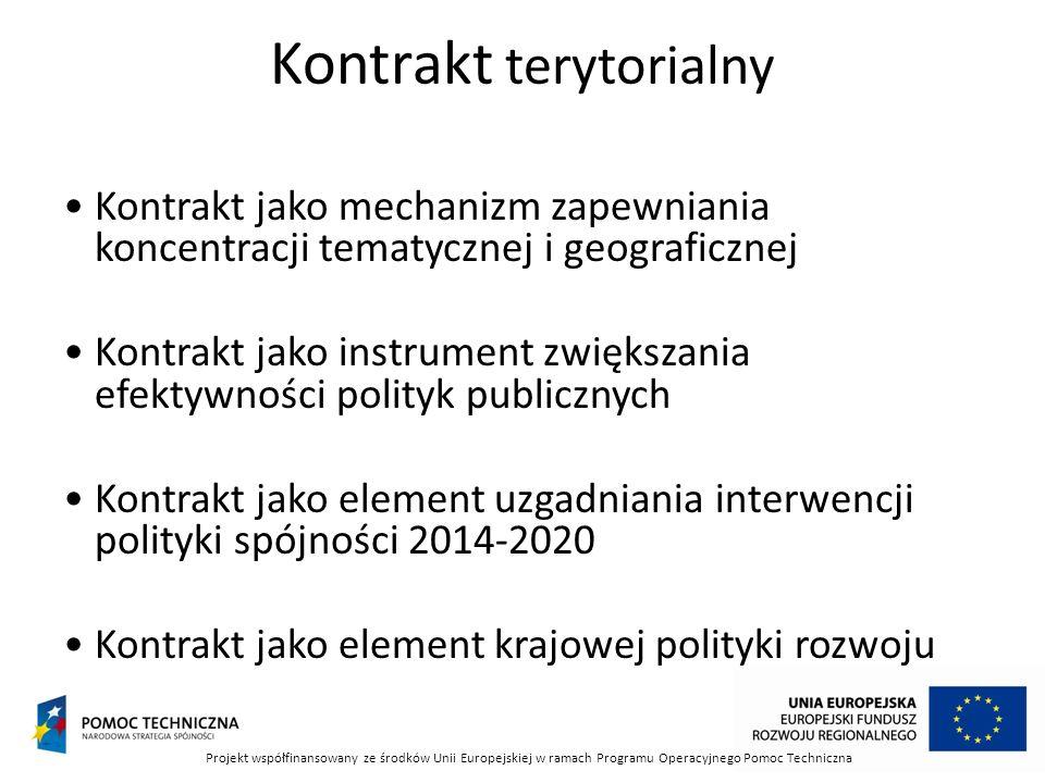 Kontrakt terytorialny Kontrakt jako mechanizm zapewniania koncentracji tematycznej i geograficznej Kontrakt jako instrument zwiększania efektywności polityk publicznych Kontrakt jako element uzgadniania interwencji polityki spójności 2014-2020 Kontrakt jako element krajowej polityki rozwoju Projekt współfinansowany ze środków Unii Europejskiej w ramach Programu Operacyjnego Pomoc Techniczna