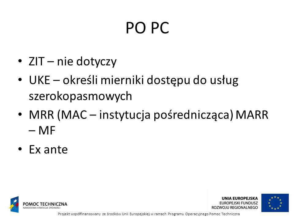PO PC ZIT – nie dotyczy UKE – określi mierniki dostępu do usług szerokopasmowych MRR (MAC – instytucja pośrednicząca) MARR – MF Ex ante Projekt współfinansowany ze środków Unii Europejskiej w ramach Programu Operacyjnego Pomoc Techniczna