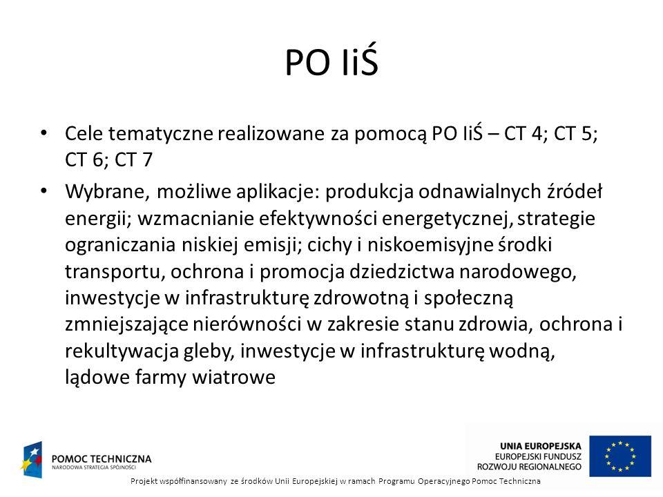 PO IiŚ Cele tematyczne realizowane za pomocą PO IiŚ – CT 4; CT 5; CT 6; CT 7 Wybrane, możliwe aplikacje: produkcja odnawialnych źródeł energii; wzmacnianie efektywności energetycznej, strategie ograniczania niskiej emisji; cichy i niskoemisyjne środki transportu, ochrona i promocja dziedzictwa narodowego, inwestycje w infrastrukturę zdrowotną i społeczną zmniejszające nierówności w zakresie stanu zdrowia, ochrona i rekultywacja gleby, inwestycje w infrastrukturę wodną, lądowe farmy wiatrowe Projekt współfinansowany ze środków Unii Europejskiej w ramach Programu Operacyjnego Pomoc Techniczna
